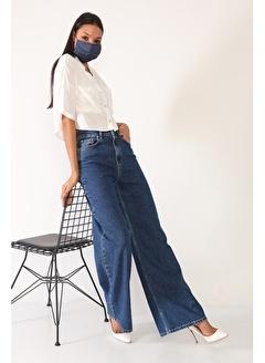 Darkly Jeans Süper Yüksek Bel Geniş Paça Siyah Wide Leg Kadın Jean Pantolon